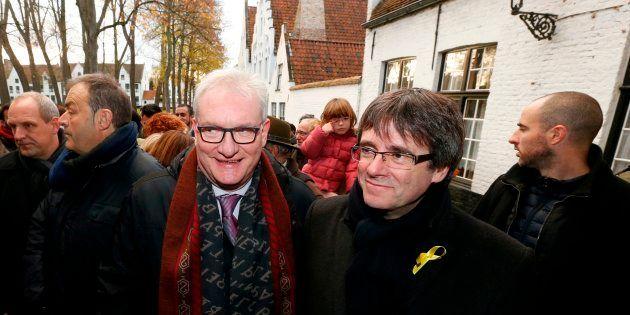 Carles Puigdemont y el senador de la N-VA Pol Van Den Driessche, de visita en Brujas el pasado