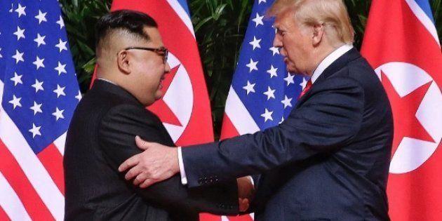 Imagen de archivo del encuentro entre Kim Jong-Un y Donald