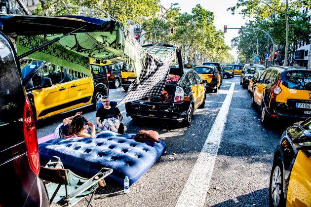 Taxis durante la huelga en la Gran Vía de