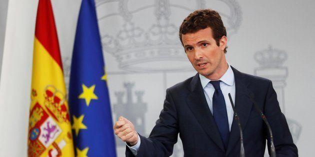 El líder del PP, Pablo Casado, en la rueda de prensa en el Palacio de la