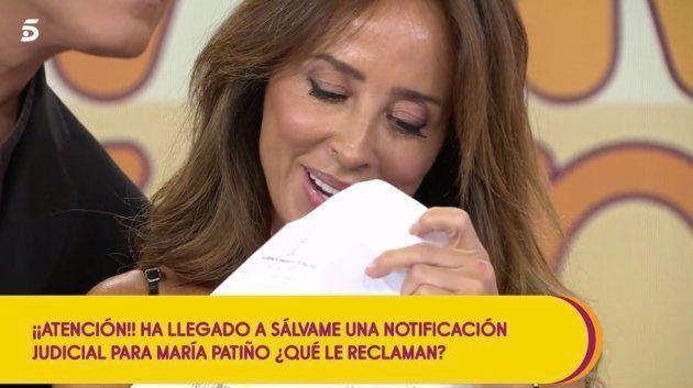 María Patiño se entera en pleno directo de 'Sálvame' de que tendrá que ir a un