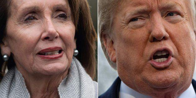 Combo con las imágenes de Pelosi (izq) y Trump
