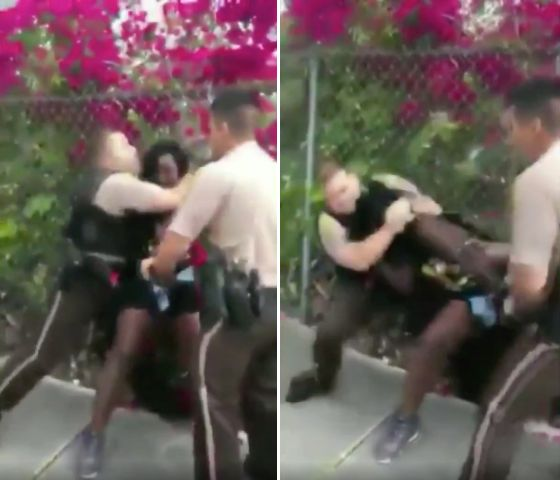 Video shows an officer placing 26-year-old Dyma Loving in a headlock and forcing her to the ground after accusing her of diso