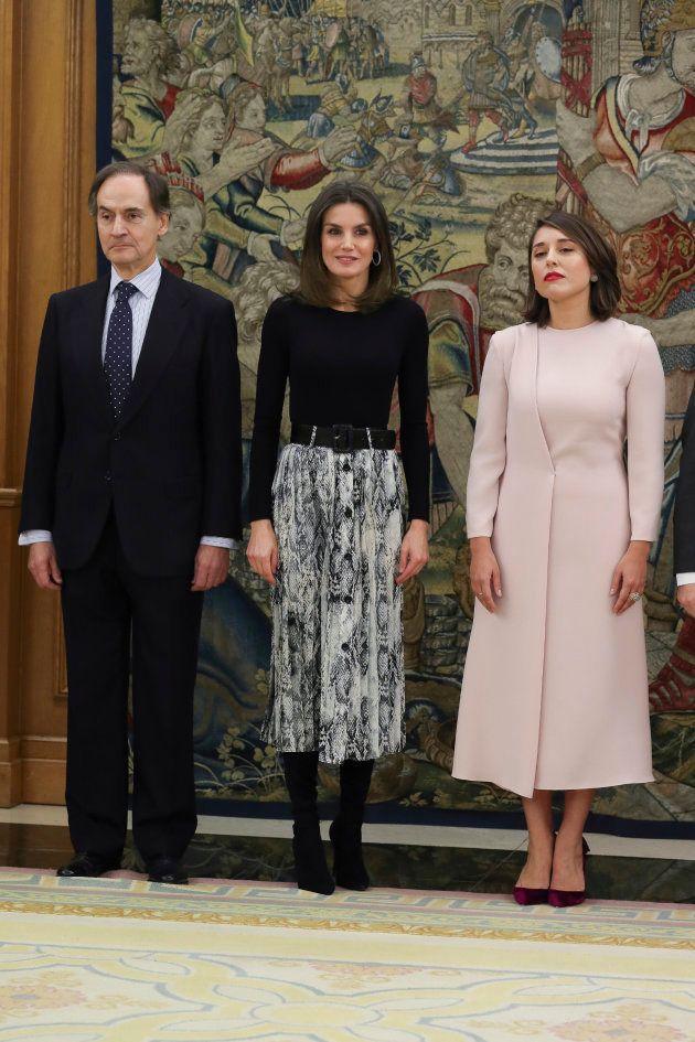 La reina Letizia durante las audiencias de este