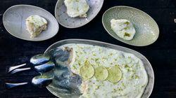 Pie de mascarpone, leche condensada, galleta salada y