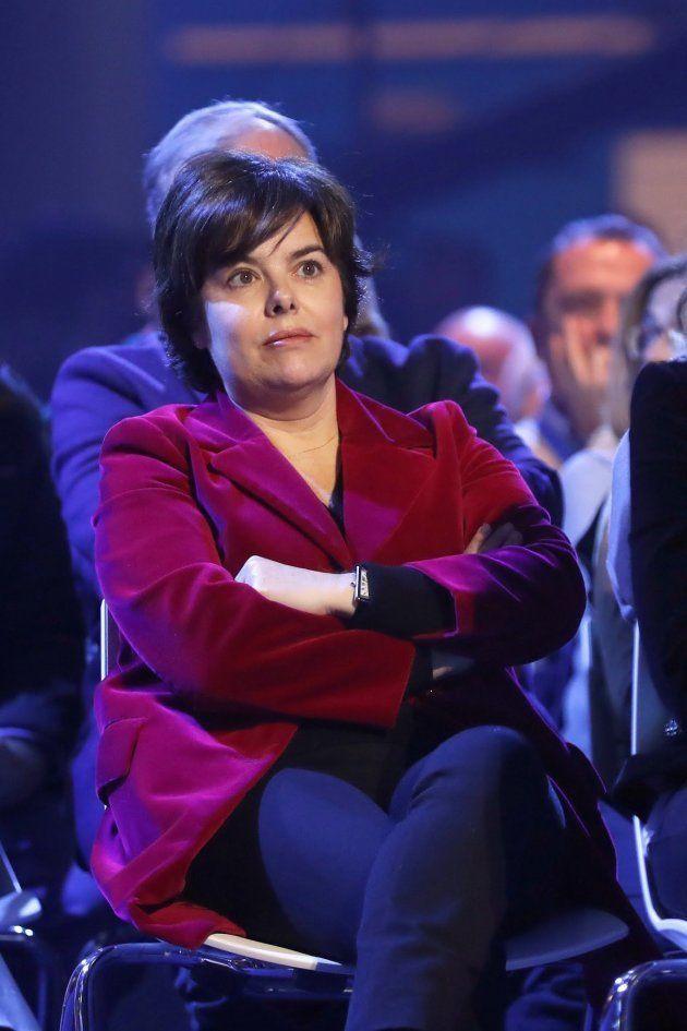 La exvicepresidenta del Gobierno Soraya Sáenz de Santamaría, esta tarde durante la inauguración de la...