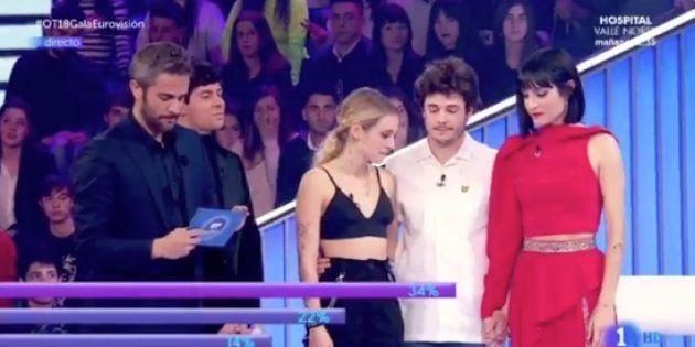 María, Miki y Natalia, en la gala de Eurovisión de