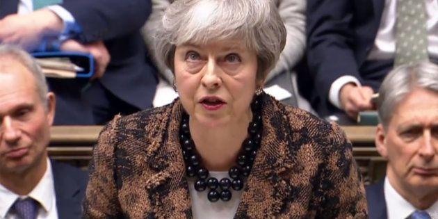 Theresa May, este lunes 21 de enero en el Parlamento