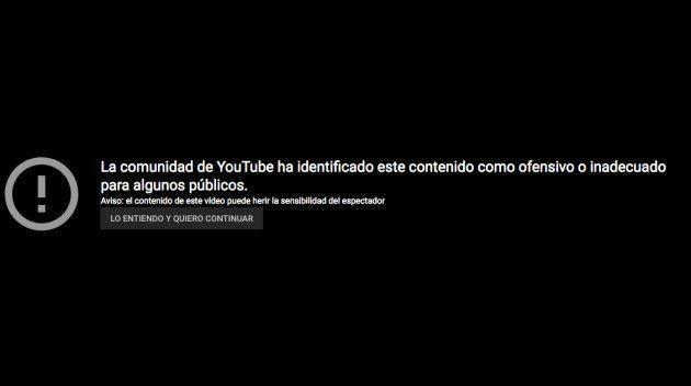 Mensaje de Youtube por contenido