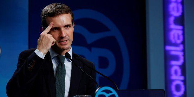El presidente del PP, Pablo Casado, durante su comparecencia de hoy en la sede del partido en