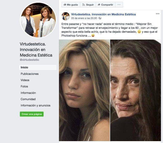 Pantallazo del Facebook de la clínica Virtudestetica. Innovación en Medicina