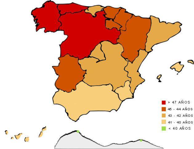 Mapa de media de edad en