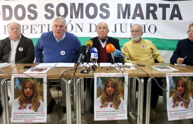 SEVILLA, SPAIN - JANUARY 18: José Antonio Casanueva (3L), grandfather of Marta del Castillo, a 17 year...