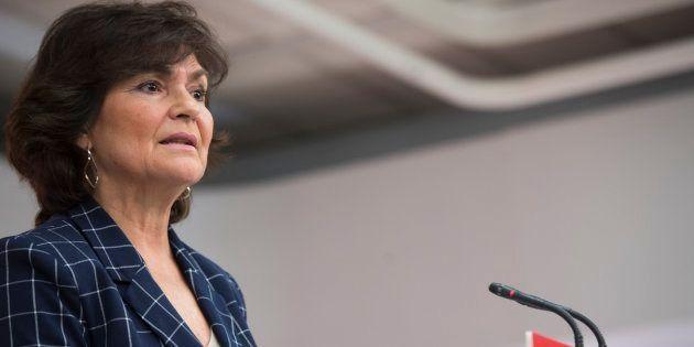 La secretaria de Igualdad del PSOE, Carmen Calvo, en rueda de