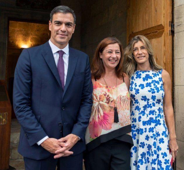Francina Armengol junto a Pedro Sánchez y Begoña Gómez en Palma de