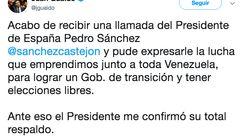 Guaidó asegura que Sánchez le ha dado su