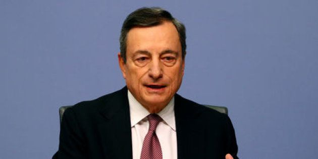 European Central Bank (ECB) President Mario Draghi holds a news conference, in Frankfurt, Germany January...