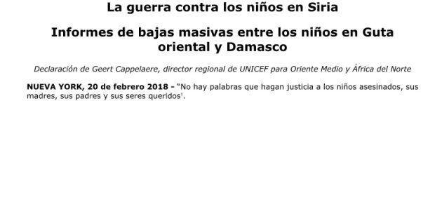 Unicef difunde un comunicado en blanco porque se ha quedado