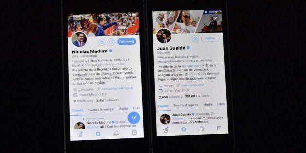 Los perfiles en Twitter de Maduro y