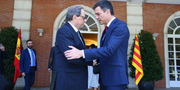 Quim Torra y Pedro Sánchez, en el encuentro que mantuvieron en La Moncloa en