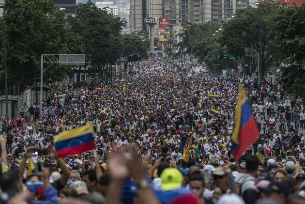 Aspecto de la protesta contra Nicolás Maduro, 23 de enero de 2019. Foto: Marcelo Pérez Del Carpio/Anadolu...