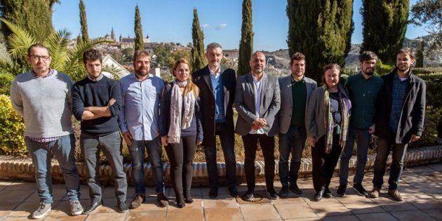 Los secretarios autonómicos de Podemos de La Rioja, Quico Garrido; Valencia, Antonio Estañ; Asturias,...