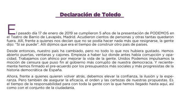 Declaración de Toledo firmada por 11 líderes territoriales de