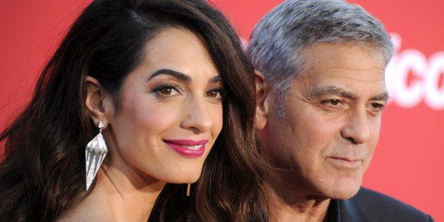 Amal y George Clooney, en el estreno de 'Suburbicon' en Westwood, California, el pasado