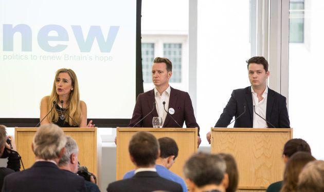 Los tres líderes de Renew, Sandra Khadhouri, James Clarke (centro) y James