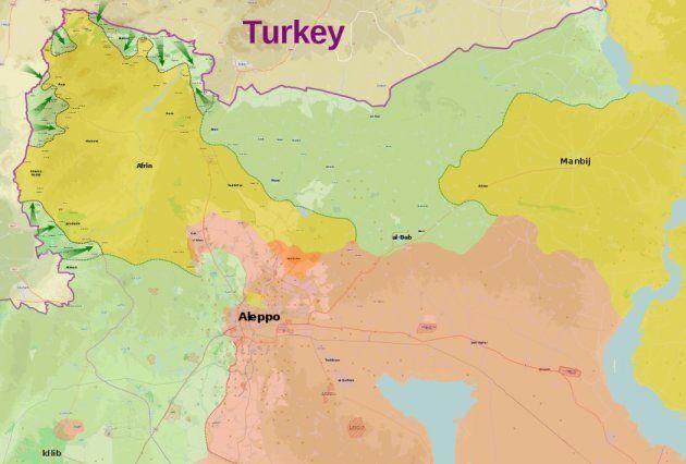 Mapa del noroeste de Siria. En amarillo, las zonas controladas por las YPG kurdas; en rojo zonas bajo...