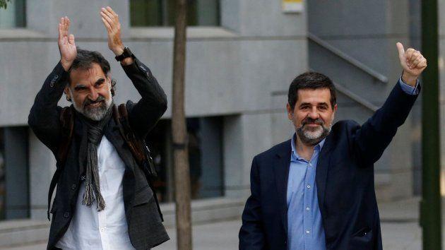 Jordi Cuixart y Jordi Sánchez, antes de declarar en