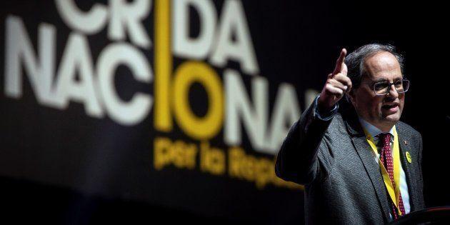 El presidente de la Generalitat, Quim Torra, durante el acto de clausura del congreso constituyente de...