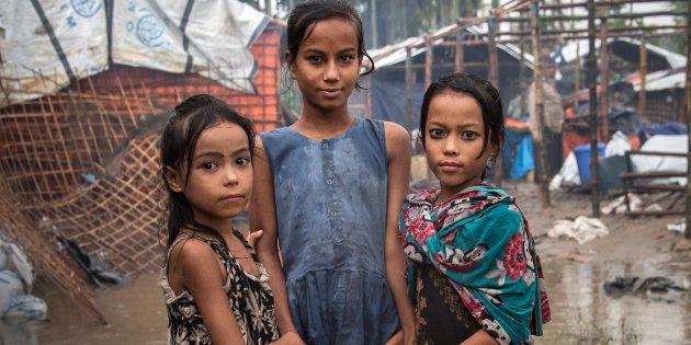Unas refugiadas rohingya, fotografiadas en un campo de Shamlapur, en el distrito de Cox's Bazar,