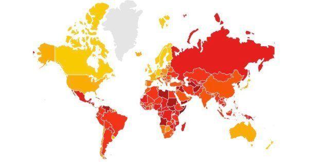 Los países que tienden al color rojo, son los que tienen un mayor índice de percepción de