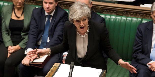 Theresa May, durante su alocución de hoy en el Parlamento de