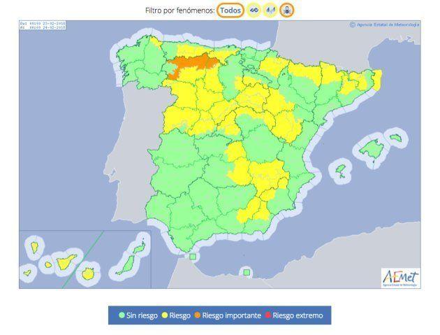 Mapa de alertas previstas por la AEMET para el viernes, 23 de