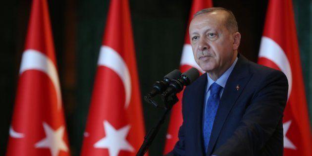 El presidente de Turquía Recep Tayyip Erdogan addresses en una conferencia en Ankara
