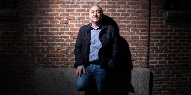 Pepe Álvarez, secretario general de la UGT, en la pared de la sede del sindicato en la calle Hortaleza...