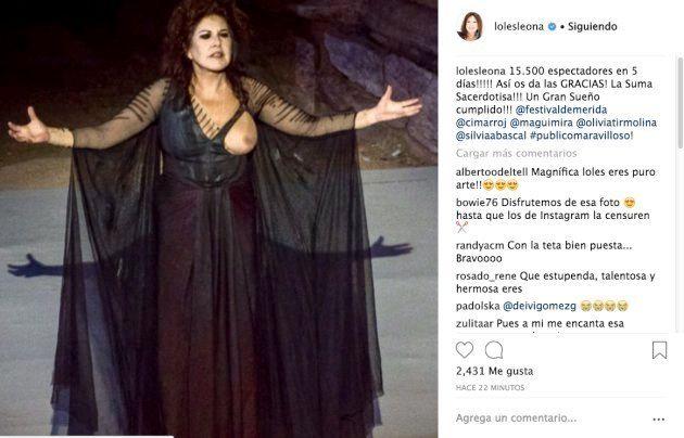 Loles León burla la censura de Instagram y comparte una foto con el pecho al