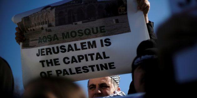 Imagen de archivo de una protesta en EE UU contra el reconocimiento de Jerusalén como capital de