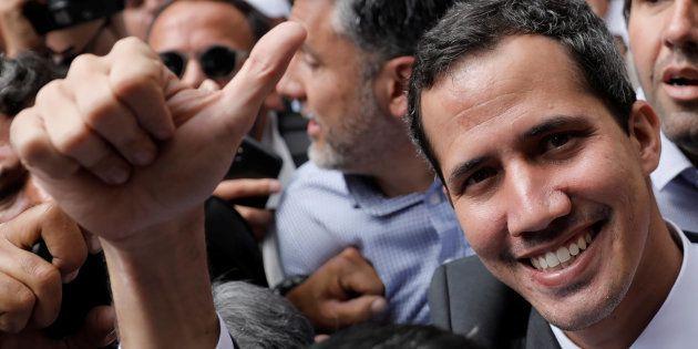 El opositor Juan Guaidó, el pasado 25 de enero, durante una protesta en