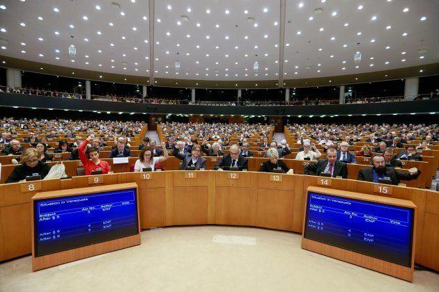 Vista general del hemiciclo, durante la sesión en la que el Parlamento Europeo ha apoyado a