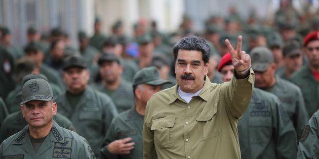 Nicolás Maduro, ayer miércoles, durante un acto militar en una base de