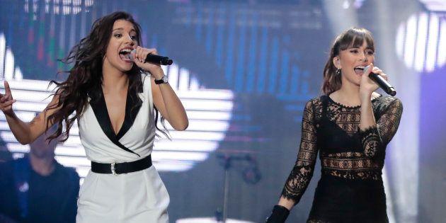 Ana Guerra y Aitana Ocaña, en una imagen de archivo del concierto de 'OT' en el Bernabéu el 29 de junio...