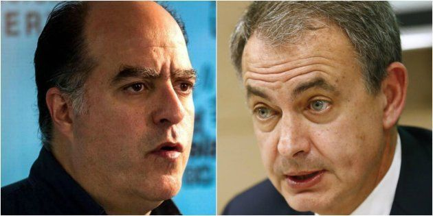 Julio Borges y José Luis Rodríguez Zapatero, en sendas imágenes de