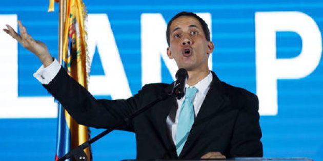 En la imagen, el líder opositor venezolano Juan Guaidó en un acto en Caracas, este