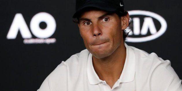 El español Rafa Nadal, en rueda de prensa tras perder la final masculina del Abierto ante el serbio Novak...