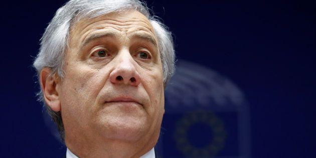 Antonio Tajani, durante el pleno de ayer en el Parlamento Europeo, en