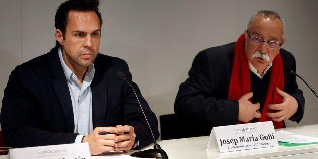 El presidente de la patronal Unauto VTC Cataluña, Josep Maria Goñi (d), y el presidente de Unauto VTC...