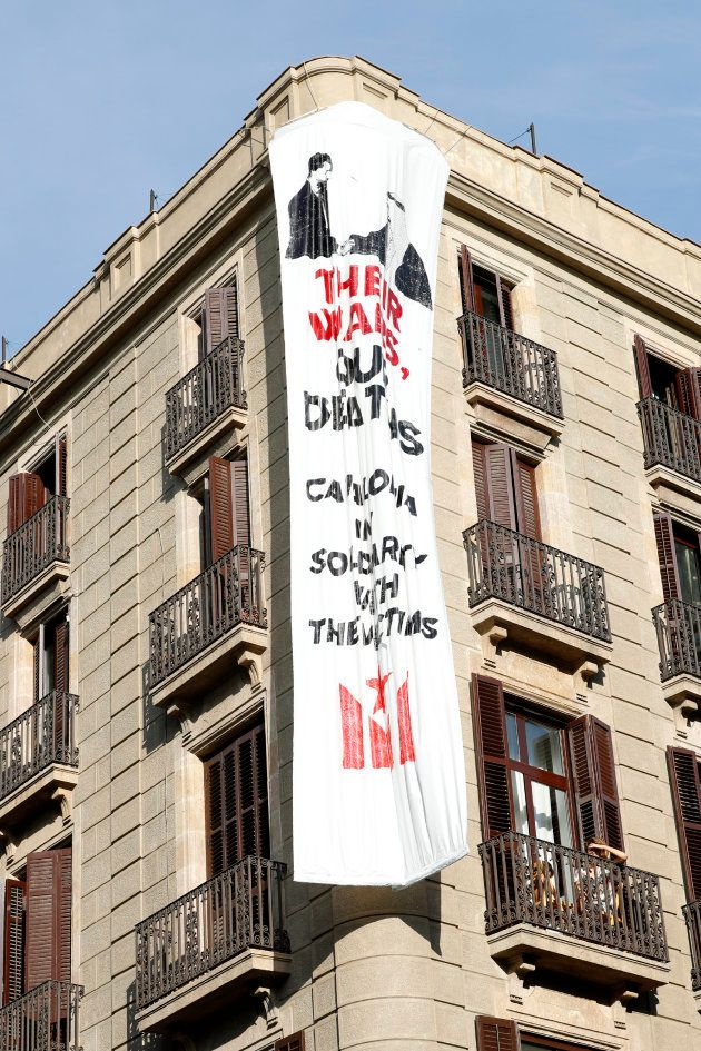 La segunda pancarta desplegada en Las